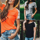 Fashion Women Summer Vest Tops Short Sleeve Blouse Casual Tank Tops T-Shirt Lace