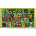 "LARGE SELECTION - 20 X 40"" GREEN PATCHWORK TAPESTRY WALL HANGING Boho Decor"