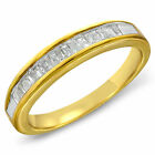 Womens 10K Gold Baguette Diamond Channal Wedding 0.45 CT Anniversary Band Ring