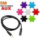 6 Way 3.5mm Aux Headphone Splitter Hub & 5M Male to Female Audio Extension Cable