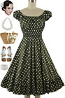 50s Style OLIVE Green POLKA DOT Print PLUS SIZE Peasant On/Off Shoulder Dress