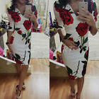 PLUS Size S M L XL Lsdies Rose Print V Neck Party Pencil Bodycon Midi-Dresses