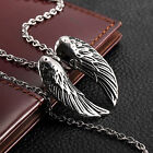 AgentX Street Style Men's Silver Stainless Steel Wing Pendant Chain Necklace