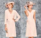 Pink Mother Of The Bride/Groom Outfits Free Jacket Knee Length Formal Dresses