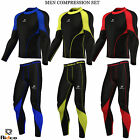Mens Compression Shirt + Tights Set Running Base Layer Fit Set Gym Skin - NEW
