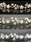 SALE Bridesmaid Prom Faux Pearl Crystal Gold / Silver Plated Tiara Comb TC011G