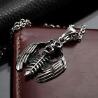 AgentX Men's Punk ROCK&ROLL Skull & Wings Pendant Stylish Chain Necklace 6 Types