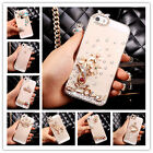 CUTE Handmade Bling Crystal Diamond Flower Hard Clear PC Case Cover for iPhone