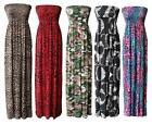 Womens Ladies Plus Size Printed Gathered Boobtube Bandeau Sheering Maxi Dress