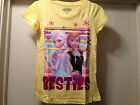 Disney FROZEN Yellow Girls Tee T Shirt Elsa & Anna Besties Heart Size 6-12 New