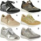 Womens Ladies Glitter Trainers Sneakers Casual Fashion Gym Sport Fitness Size
