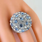 Frosted Acrylic Domed Ring Numerous Blue Clear Swarovski Elements Crystal Dome