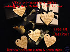 Personalised Wooden Heart Present Hangers  Wedding Favours Natural Wood Engraved