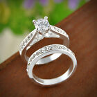 2Pcs Women Wedding Engagement Rings Silver Plated Zirconia Crystal Ring Jewelry