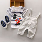 2Pcs Baby Boy Girls Cotton T-shirt Hooded Bib Pants Toddler Clothes Set Outfits