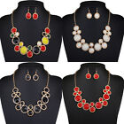 Lady Fashion Luxury Crystal Statement Bib Pendant Choker Chunky Collar Necklace