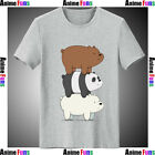 We Bare Bears Three Bear Sign Cotton Short Sleeve Loose Fit T-shirt Cool Costume
