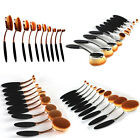 10PCS Oval Toothbrush Shaped Lip Powder Blusher Foundation Eye Makeup Brushes