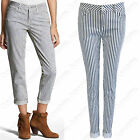 NEW LADIES STRIPE WHITE JEANS WOMENS TROUSERS SKINNY FIT BLUE STRETCH DENIM LOOK