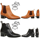 New womens ladies smart pointed toe Real Leather Chelsea ankle boots shoes size
