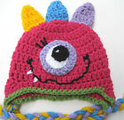 CROCHET GIRL MONSTER BABY HAT infant toddler pink cap beanie  photo prop