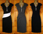 NEW TOPSHOP LADIES BLACK WHITE GREY VINTAGE 50s STYLE PARTY OFFICE PENCIL DRESS
