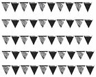 Black & Silver Stars Foil Flag Banner 12 ft Bunting/Happy Birthday (Creative)