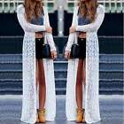Women Lace Maxi Cover Up Kimono Beach Dress Bikini Shirt Dress Swimwear Cardigan
