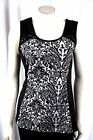 New Maurices Woman's Tank Top Shirt Fitted Black White Embellished S,