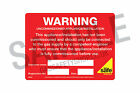 Gas Safe Uncommissioned Appliance / Installation Labels