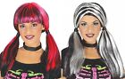 Ladies Black Striped Bunches Pigtail Halloween Fancy Dress Costume Outfit Wig