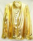 Men Cabaret Disco Fancy Party Dance Stage Singer Metallic Gold Shirt long sleeve