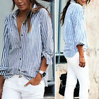 Fashion Women Lady Casual Cotton Long Sleeve Striped Loose Shirt Blouse Tops