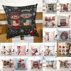 "18""x18 Owl Cotton Linen Pillow Case Sofa Waist Throw Cushion Cover Xmas Decor"