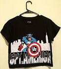 Marvel Comics Shirt Captain America Belly Shirt Women Juniors Black XS L NWOT
