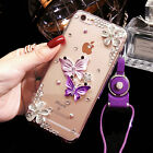 NEW Bling Rhinestone Diamond Case with Lanyard Neck Strap for iPhone and Samsung
