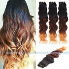 1-3 bundles Three Tone Ombre Remy Natural Wave Human Hair Extensions Weft