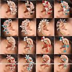 Women Gold Plated Crystal Cartilage Ear Clip On Wrap Cuff Earring No Piercing