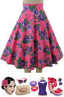 50s Style VIBRANT PINK with PURPLE Roses FLORAL Print HighWaist FULL PINUP Skirt