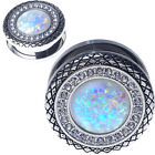 PAIR-Stainless Steel Silver BUTTON GEMS Synthetic WHITE Opal-EAR GAUGES-EAR PLUG