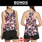 BONDS Active Mesh Eyelet Tank Womens Gym Racer Top Singlet Black Pink Sports New