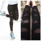 Fashion Womens Mesh Panels Stretchy Workout Sports Gym Yoga Leggings Ninth Pants