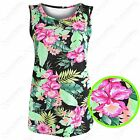 NEW LADIES BRIGHT FLORAL PRINT TOP SLEEVELESS VEST WOMENS LONG LOOK TANK TOPS