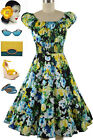 50s Style EVENING BLOOMS Floral Rose PINUP Peasant Top On/Off Shoulder Dress