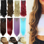100% Real Thick Hair piece Clip in Hair Exensions Extension Full Head human made