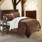 Evie Plush Microsuede Sherpa Lined Brown 3 Piece Blanket & Shams Set