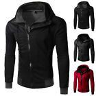 UK Casual Dual Zip Cotton Hoodies Hooded Mens Slim Top Coat Jacket Sweatshirt