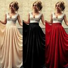 US Women Sequin Long Formal Bridesmaid Evening Dresses V-neck Prom Party Gown 12