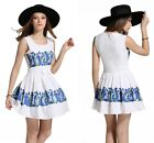New Women Summer Sleeveless Casual Printed Cocktail Party Evening Mini Dress