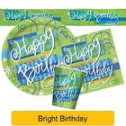 BRIGHT BIRTHDAY Party Tableware & Decorations (Birthday/Plates/Napkins/Balloon)